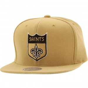 Mitchell And Ness New Orleans Saints Wool Solid Snapback Cap (gold)