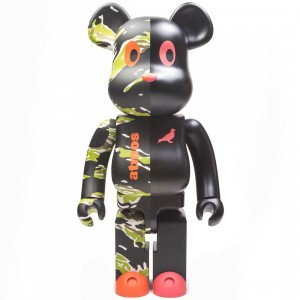 Medicom x Atmos x Staple 1000% V2 Bearbrick Figure (black)