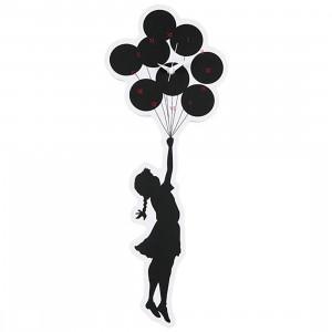 Medicom x Karimoku x SYNC Brandalism Flying Balloons Girl 2nd Made Wall Clock (black)