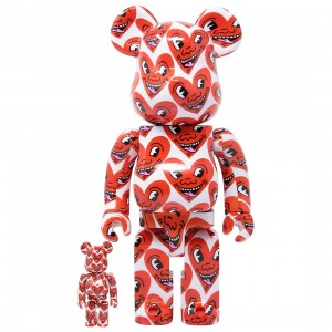 Medicom Keith Haring #6 100% 400% Bearbrick Figure Set (red)