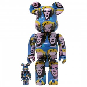 Medicom Andy Warhol Marilyn Monroe 100% 400% Bearbrick Figure Set (blue)