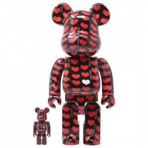 Medicom Black Heart 100% 400% Bearbrick Figure Set (red)
