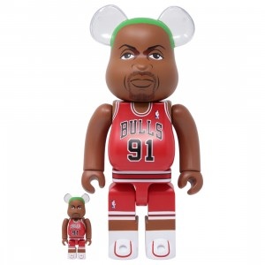 Medicom NBA Chicago Bulls Dennis Rodman 100% 400% Bearbrick Figure Set (red)
