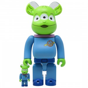 Medicom Disney Toy Story Alien 100% 400% Bearbrick Figure Set (blue)