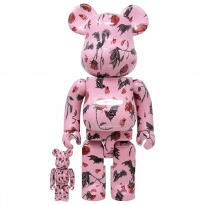 Medicom x Eri Wakiyama Bat And Rose Pink 100% 400% Bearbrick Figure Set (pink)