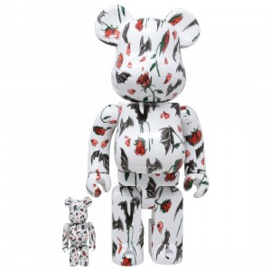 Medicom x Eri Wakiyama Bat And Rose White 100% 400% Bearbrick Figure Set (white)