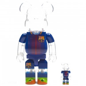 Medicom FC Barcelona 100% 400% Bearbrick Figure Set (blue)