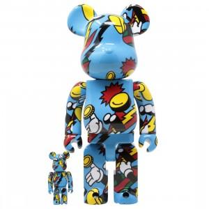 Medicom Grafflex Arts 100% 400% Bearbrick Figure Set (blue)