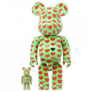 Medicom Green Heart 100% 400% Bearbrick Figure Set (green)