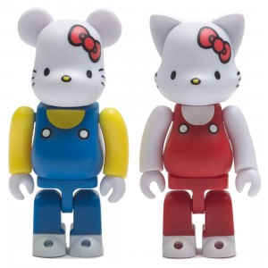 Medicom Hello Kitty 100% Bearbrick And Nyabrick Figure 2 Pack Set (white)