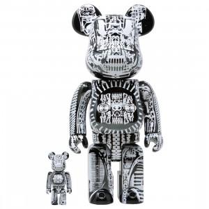 Medicom H.R. Giger Black Chrome Ver. 100% 400% Bearbrick Figure Set (black)