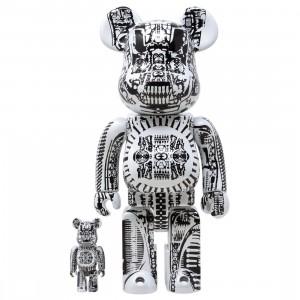 Medicom H.R. Giger White Chrome Ver. 100% 400% Bearbrick Figure Set (white)