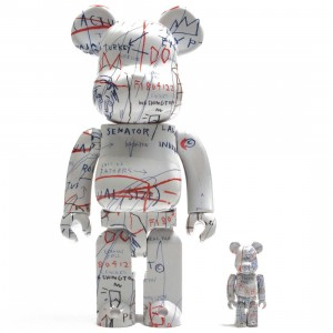 Medicom Jean-Michel Basquiat #2 100% 400% Bearbrick Figure Set (white / red)