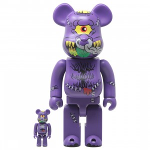 Medicom Madballs Horn Head 100% 400% Bearbrick Figure Set (purple)
