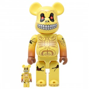 Medicom Madballs Skull Face 100% 400% Bearbrick Figure Set (yellow)