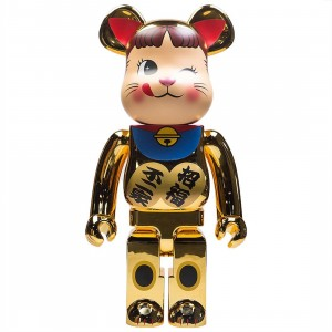 Medicom Manekineko Peko Chan 2 Gold Plated 1000% Bearbrick Figure (gold)