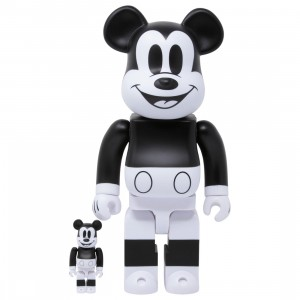 Medicom Disney Mickey Mouse Black And White 2020 Ver 100% 400% Bearbrick Figure Set (black / white)