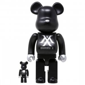 Medicom Monsta X 100% 400% Bearbrick Figure Set (black)