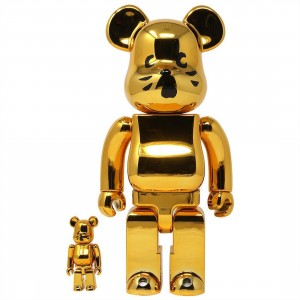 Medicom Nya Gold Plated Ver. 100% 400% Bearbrick Figure Set (gold)