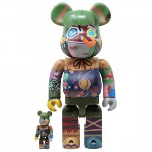 Medicom Poupelle of Chimney Town Poupelle 100% 400% Bearbrick Figure Set (green)