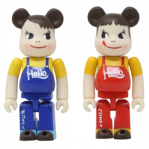 Medicom Peko Chan And Peko Chan Vintage Hello Version 100% 2 Pack Bearbrick Figure Set (red / blue)