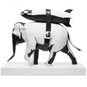 Medicom x SYNC Brandalism Elephant With Bomb Original Ver. Statue (black)