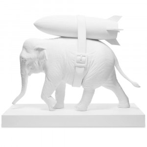 Medicom x SYNC Brandalism Elephant With Bomb Statue (white)