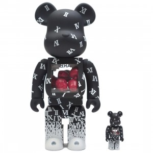 Medicom Shareef 100% 400% Bearbrick Figure Set (black)