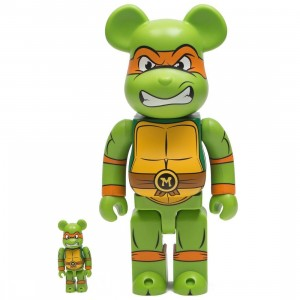 Medicom TMNT Michelangelo 100% 400% Bearbrick Figure Set (green)