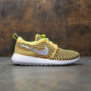 Nike Women Roshe One Flyknit Shoe (volt / white-total orange-black)