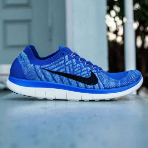 Nike Women Free 4.0 Flyknit (blue / racer blue / black / university black / hyper orange)