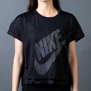 Nike Women Mesh Crop Tee (black / black / white / white)