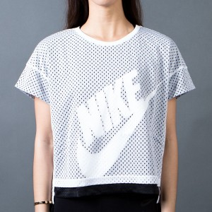 Nike Women Mesh Crop Tee (white / black / black / white)