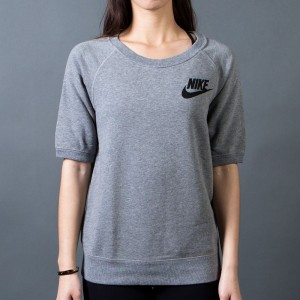 Nike Women Rally Crew Tee (grey  /  carbon heather / black)