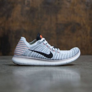 Nike Women Free Rn Flyknit Running (wolf grey / black-bright mango)
