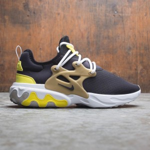 Nike Men React Presto (black / black-yellow streak-metallic gold)