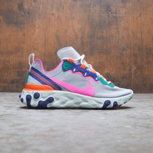 Nike Women React Element 55 (wolf grey / laser fuchsia-hyper crimson)