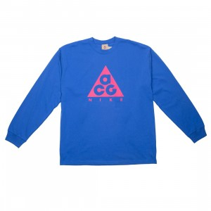 Nike Men Nrg Acg Long Sleeves Logo Tee (game royal / rush pink)