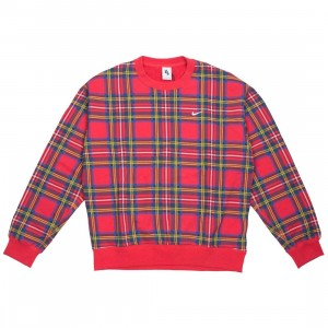 NikeLab Men Nrg Plaid Swoosh Stripe Crewneck (university red)
