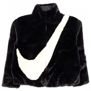 Nike Women Sportswear Faux Fur Jacket (black / fossil)