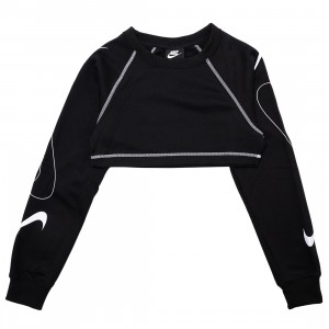 Nike Women Sportswear Swoosh Cropped Fleece Crewneck (black / white)