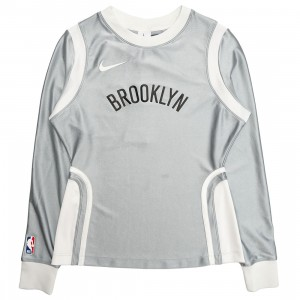 Nike Women W Nrg Ir Top Brooklyn Nets Long Sleeves Tee (lt smoke grey)