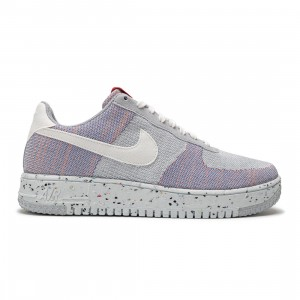 Nike Men Air Force 1 Crater Flyknit (wolf grey / white-pure platinum-gym red)