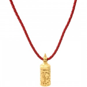 BAIT Sriracha Necklace - Red Leather (gold / red)