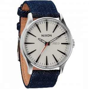 Nixon Sentry Leather Watch (blue / dark denim / cream)