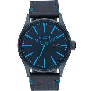Nixon Sentry Leather Watch (blue / all dark blue)