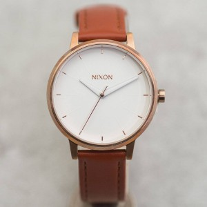 Nixon Kensington Leather Watch (rose gold / white)