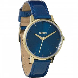 Nixon Kensington Leather Watch (blue / light gold)
