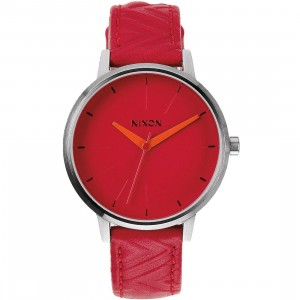Nixon Kensington Leather Watch (red / mod)