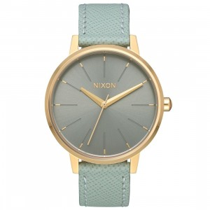 Nixon Kensington Leather Watch (gold / light / agave)